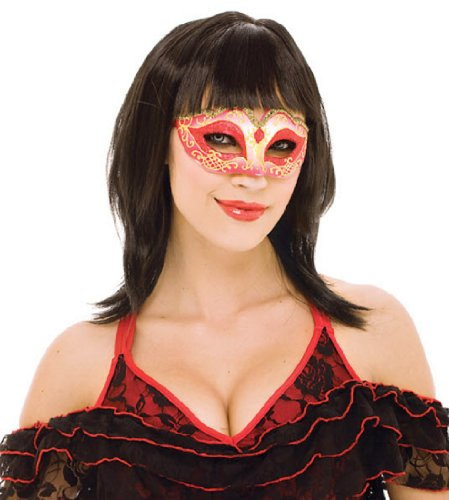 Paper Magic Women's French Kiss Masquerade Mask, Red, One (Kiss Masks For Sale)