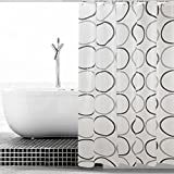 ALDECOR Geometric Circle Shower Curtain, Retro Pattern with Large Round Dots Abstract Art Print Image, Fabric Bathroom Decor Set with Hooks, Black Grey White