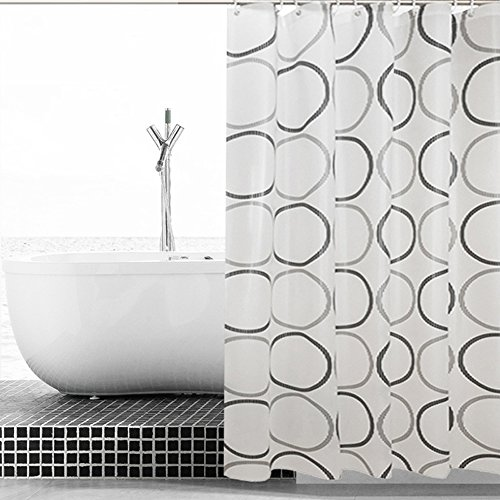 ALDECOR Geometric Circle Shower Curtain, Retro Pattern with Large Round Dots Abstract Art Print Image, Fabric Bathroom Decor Set with Hooks, Black Grey (Dot Geometric Shower Curtain)