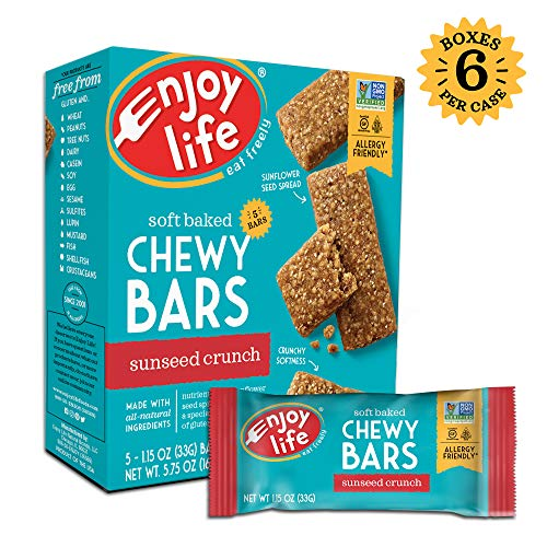 Enjoy Life Chewy Bars, Soy free, Nut free, Gluten free, Dairy free, Non GMO, SunSeed Crunch, 6 Boxes (30 Bars) (Bars Crunch Sunbutter)