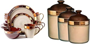 Gibson Elite Casa Estebana 16 Piece Dinnerware Set, Cream & Casa Azul Reactive Glaze Stoneware Dinnerware, 3-Piece Cannister Set, Beige/Brown