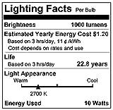 DORESshop LED Filament Bulb, 100Watt Equivalent (10W) Light Bulbs, 2700K Warm White, 1000LM, ST64 Antique Shape, E26 Medium Base Light Bulbs for Home Decoration, 4Pack (Not Dimmable)