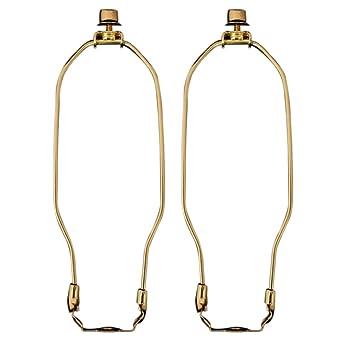 aus poliertem Messing Kreuzblumen- und Harfen-Lampe-Halterset poliertes Messing Lampe im Harfen-Design von Royal Designs 9 Zoll 22,9 cm