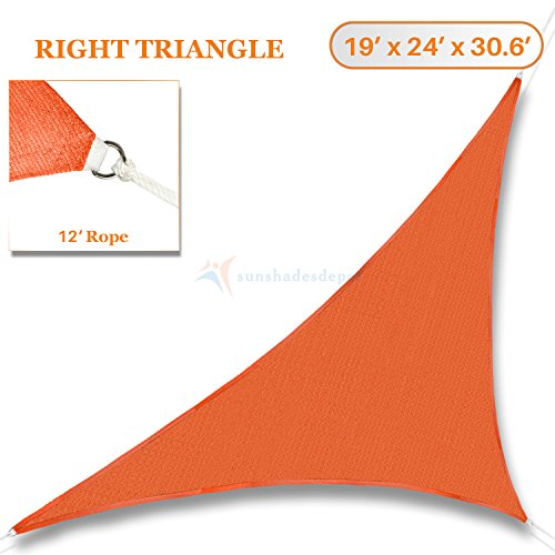 Sunshades Depot 19' x 24' x 30.6' Orange Sun Shade Sail Right Triangle Permeable Canopy Rust Orange Custom Size Available Commercial Standard