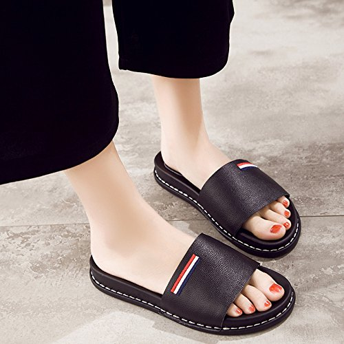 a wearing drag black female slip summer slippers non soft Flat stylish and A casual bottom fankou cool cool 37 XqwTxY0v6