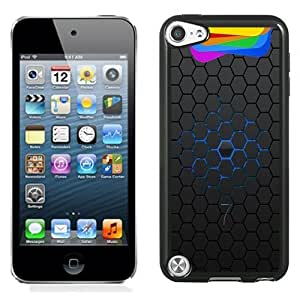 Beautiful Custom Designed Cover Case For iPod Touch 5th With iOS 7 Dark Hexagons Phone Case