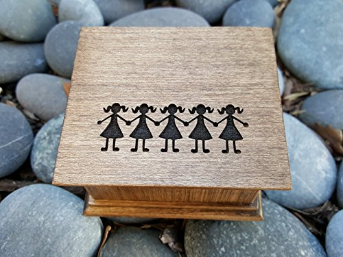 Custom engraved music box with sisters engraved on the top, great birthday gift for your sisters or the flowers girls on your wedding day, or even for Mother's day