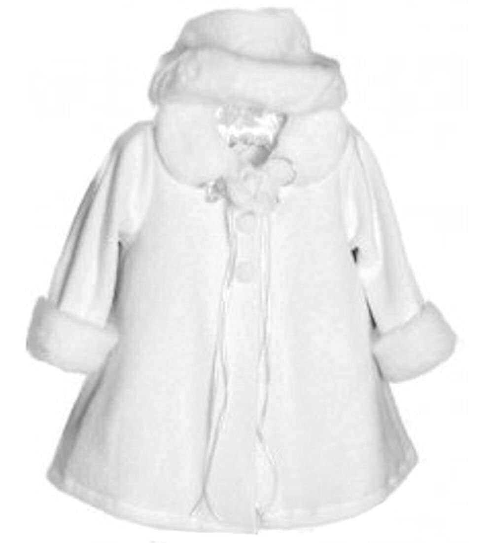 Kid's Dream Baby-girls Faux Fur Trim White Fleece Coat with Hat