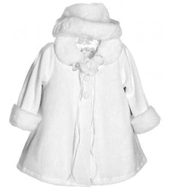 f588586f66c04 Kid s Dream Baby-girls Faux Fur Trim White Fleece Coat with Hat - White -