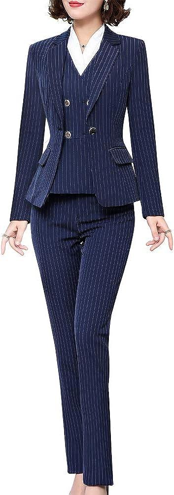 LISUEYNE Women's Three Pieces Stripe Blazer Suit Slim Office Lady Business Set Blazer Jacket,Pant/Skirt