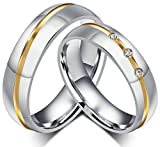AnaZoz Stainless Steel Couple Ring Two Tone CZ Review and Comparison