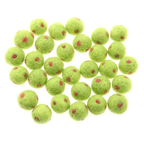 Zasy 20mm Polka Dot Wool Pom Pom Beads Foam Filled Needle Felt Decorative Wool Balls -