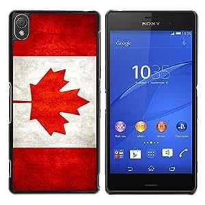 Caucho caso de Shell duro de la cubierta de accesorios de protección BY RAYDREAMMM - Sony Xperia Z3 D6603 / D6633 / D6643 / D6653 / D6616 - Canada Grunge Flag