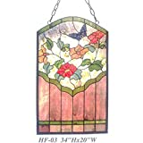 HF-03 Rural Vintage Tiffany Style Stained Church Art Glass Decorative Colorful Butterfly & Morning Glory Sector Design Window Hanging Glass Panel Suncatcher, 34''H20''W