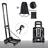 Folding Hand Truck 150 lbs Heavy Duty Solid Construction Utility Cart Compact and Lightweight for Luggage, Personal, Travel, Auto, Moving and Office Use - Portable Fold up Dolly(4 wheels)