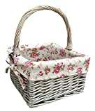 Small Antique Wash Square Shopping With Garden Rose Lining