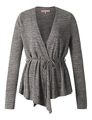 Regna X Boho Women's Open Front Drape Long Sleeve Lightweight Sweater Cardigans (3styles, S-3XL)