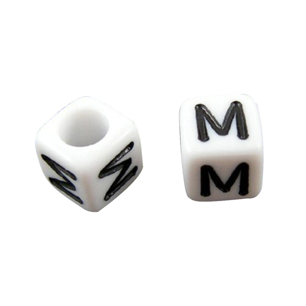 Pandahall 50g (About 300pcs) 6mm Letter B White Cube Alphabet Acrylic Beads for Name Jewelry Making PH PandaHall wh-X-PL37C9308-B