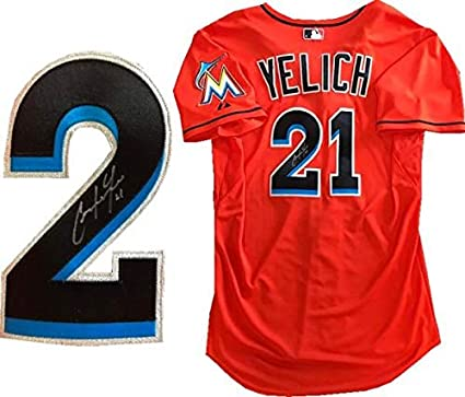 fc2530c329f Christian Yelich Autographed Game Used Miami Marlins Jersey (MLB) - MLB  Autographed Game Used Bats at Amazon s Sports Collectibles Store