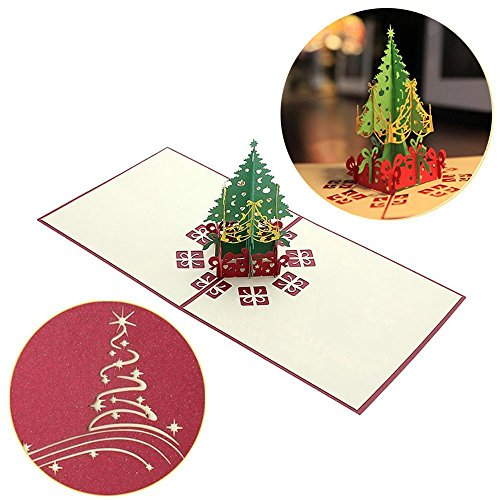Black Friday Deals Cyber Monday Deals-3D Pop Up I Love Mom Handmade Luck Best Wish Greeting Card Kirigami Paper Craft (Xmas - Christmas 2017 Cards Deals