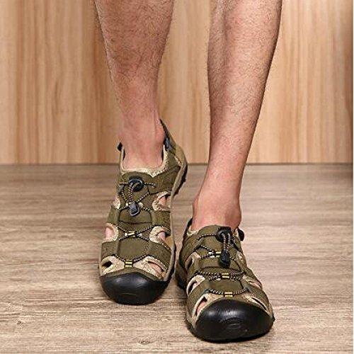 Aire Zapatos Sandalias Al Trekking Cerrada Con Libre Hombres Para Punta De Entrenamiento Cuero Armygreen g11qBHv