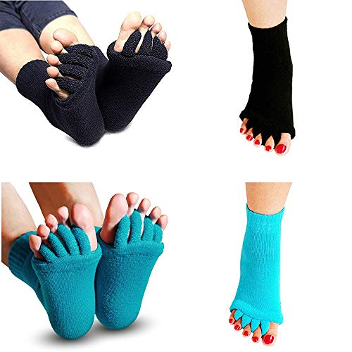2 Pair Toe Separators Spreader Spacer Socks for Yoga, Gym, Sports, Toe Straighteners Correctors Helps with Foot Alignment, Bunions, Hammer Toes, Hallux Valgus, Blisters, Sore Feet Pain (Black Aqua) by JERN