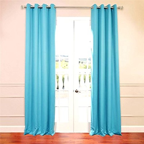 Gorgeous HomeDIFFERENT Solid Colors & Sizes (#32) 2 Panels Solid Thermal Foam Lined Blackout Heavy Thick Window Curtain Drapes Silver Grommets (Aqua Blue, 108