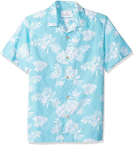 - 28 Palms Men's Standard-Fit 100% Cotton Tropical Hawaiian Shirt, Aqua/White Floral, X-Large