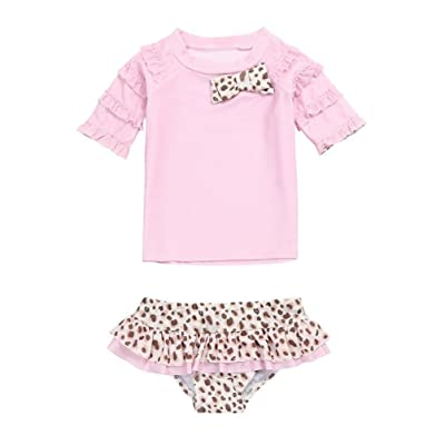 4cbe0ecb Baby Girls Lovely Swimming Suits 2 Pieces Leopard Print Ruffled Tankinis  Bikinis Sets