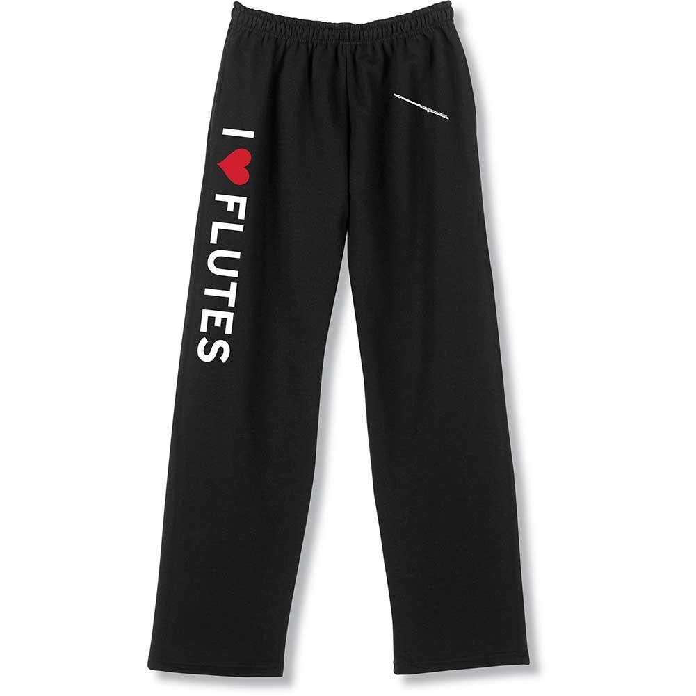 Unisex Adult I Heart Instruments Unisex Sweatpants - I Love Flutes - Large
