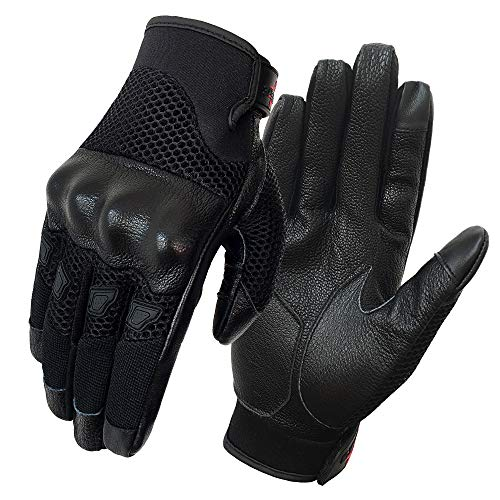 Men's Motorcycle Gloves Breathable And Lightweight Leather Street Bike Gloves Knuckle Armored (G17-Men's Mesh Fabric,S) ()