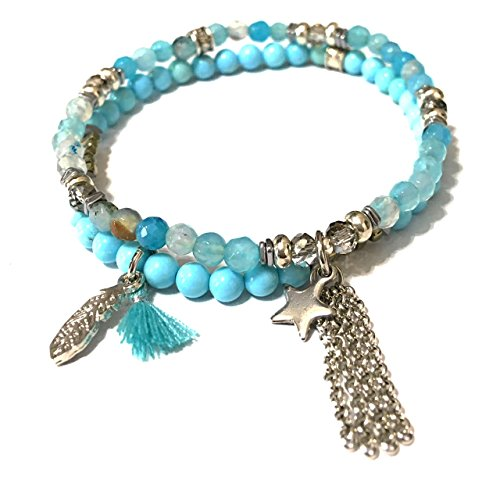 Chavez for Charity Stretch Beaded Bracelet Set with Charms, Blue (Bright (Donation Charm)