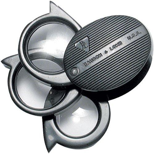 3 Folding Magnifier (Bausch & Lomb 5X, 7X, 9X and 21X - 3 Lens Pocket Magnifier)