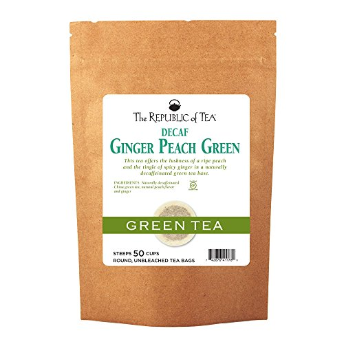 The Republic Of Tea Decaf Ginger Peach Green Tea, 50 Tea Bags (Refill Bag) (Ginger Peach Green Tea)