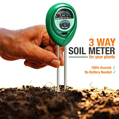 Soil pH Meter, 3-in-1 Soil Test Kit For Moisture, Light & pH, A Must Have For Home And Garden, Lawn, Farm, Plants, Herbs & Gardening Tools, Indoor/Outdoors Plant Care Soil Tester (No Battery Needed) (Home Gardening Tools)
