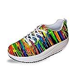 FOR U DESIGNS Funny Pigment Style Women's Platform Wedge Outdoor Walking Sneaker US 9