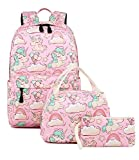 Abshoo Cute Lightweight Kids School Bookbags Unicorn Girls Backpacks With Lunch Bag (Unicorn Pink Set G3)