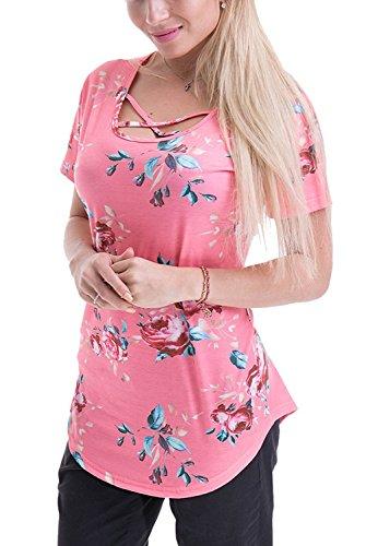 V-toto Blusa de Mujer Floral Imprimir Verano Casual Camiseta de Manga Corta Blusa Tops Rosado