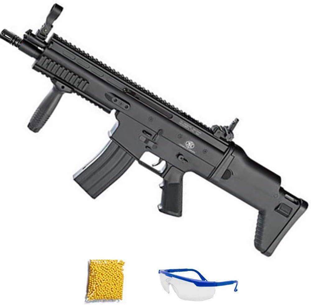 Spring FN SPR Scar-L Negro | Fusil de Airsoft Calibre 6mm (Arma Larga de Aire Suave de Bolas de plástico o PVC). Sistema: Muelle, 0.9 Julios