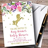Floral Gold Unicorn Invitations Baby Shower Invitations