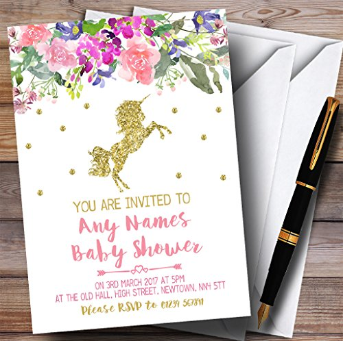 Floral Gold Unicorn Invitations Baby Shower Invitations
