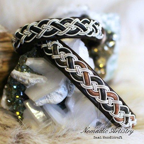 Comfort - Sami Bracelet, Pewter Thread, Pewter Bracelet, Lapland, Reindeer Leather, (Lapland Reindeer)