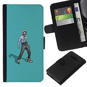 NEECELL GIFT forCITY // Billetera de cuero Caso Cubierta de protección Carcasa / Leather Wallet Case for Samsung Galaxy Core Prime // Trabajador Rebelde