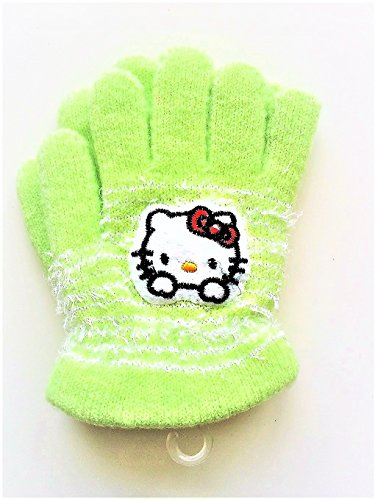 Fuzzy-hello-kitty-warm-gloves-for-children-ages-2-5-years-various-colors-1-pair (Green) ()