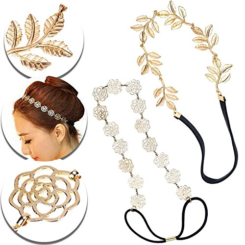 Adjustable Double Headband - Set of 2pcs Headbands Hairbands Hair Bands Holders With Golden Roses Flowers Decorations, Gold Colored Leaves Leaf Ornaments and Black Elastic Straps