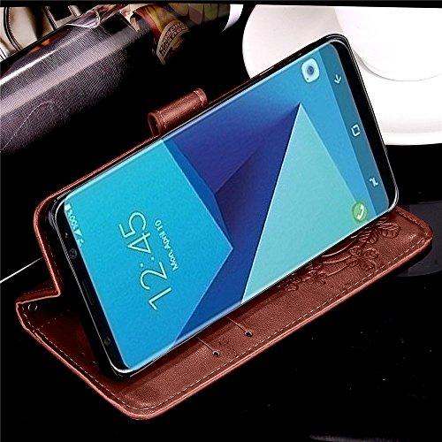 Carcasas y fundas Móviles, Para Samsung Galaxy S8 Plus, [Relieve Lucky Flower Four-Leaf Clover] Funda de cuero de la PU [Soporte / Ranura para tarjeta] Con funda de correa de Lanyard para Samsung Gala Brown