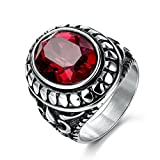 MASOP Vintage Retro Mens Stainless Steel Jewelry Oval Red Ruby Color Zirconia Engagement Wedding Ring