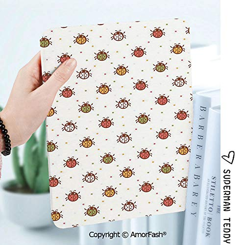 Case for Galaxy Tab A 8.0 Inch SM-T380/T385 2017,Anti Slip Kids Friendly,Ladybugs Pastel Color Vintage Stylized Faded Bugs Setting Nostalgic Good Luck Childhood Theme