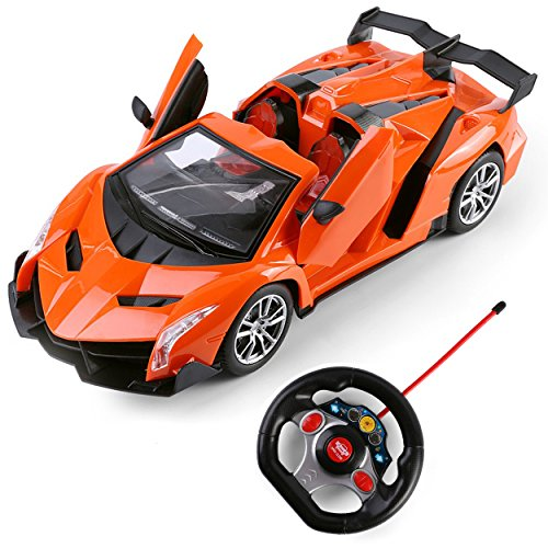 SumacLife Full Function Remote Controlled Orange Super Venom Race Car RC Toy 1:16 Scale