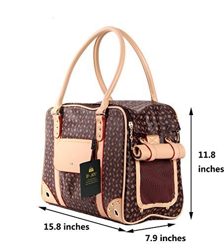 BETOP Pet Carrier Tote Around Town Pet Carrier Portable Dog Handbag Dog Purse for Outdoor Travel Walking Hiking (L(40cm*30cm*20cm), Brown) by BETOP (Image #2)